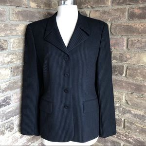 Escada Blazer Suit Jacket Wool Black Womens 38